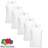 5 Fruit of the Loom T-shirt mangas cavas algodão, branco, XL