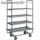 5-shelf catering trolley - mod. ca1433 - extra thick round tubular stainless