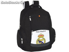 57296 Cartera escolar safta real madrid mochila doble multibolsillos 32x44x20 cm