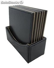 6 Coasters In Box Bonded Leather