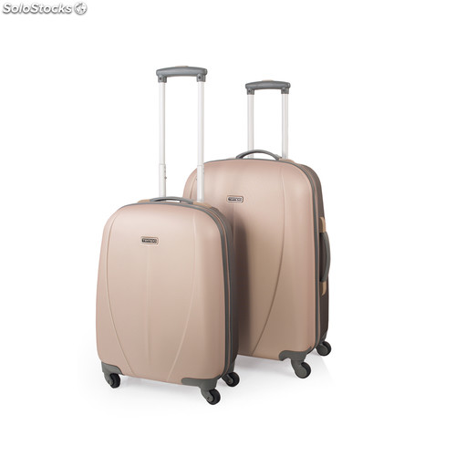 64215 set 2 trolleys abs bicolor marca tempo dorado-marron