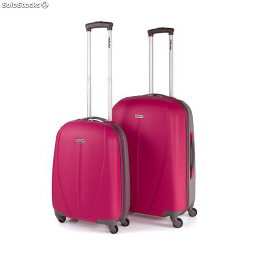 64215 set 2 trolleys abs bicolor marca tempo fucsia-plata