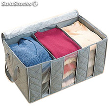 65L 3-Layer Bamboo Charcoal Buggy Bag Storage Bag with Zipper for Clothes