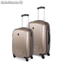 66115 set 2 trolley abs 55 / 66 cm mark tempo Champagne-Gris Oscuro