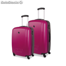 66115 set 2 trolley abs 55 / 66 cm mark tempo Fucsia scuro-Gris