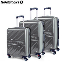 67100 set 3 trolleys abs marca dunlop plata