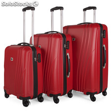 67400 set di 3 trolley abs Rosso