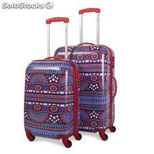 67700 set 2 trolleys policarbonato rojo