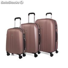 68200 set 3 trolleys abs marca jaslen rose gold