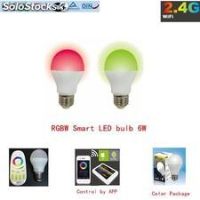 6w rgb blanc wifi ampoule led intelligent ampoule led pour Apple et Android