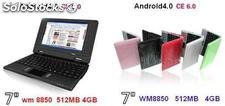 "7""mini netbook notebook android4.0 laptop wm8850 512mb 4gb camara usb externo 3g"