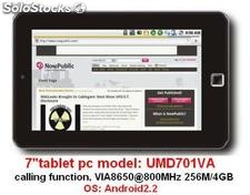 "7""tablet pc mid umd android2.2 fonction d'appel wm8650 800Mhz 256m 4g wifi"