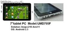 "7""tabletas pc mid umd android2.3 ix210 1Ghz 256m 4g wifi camara resistiva tactil"