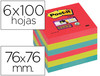 72236 Bloc de notas adhesivas quita y pon post-it super sticky 76x76 mm con 6 bl