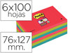 72238 Bloc de notas adhesivas quita y pon post-it super sticky 76x127 mm con 6 b