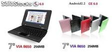 7cal mini netbook notebook laptop android2.2 wm8650 800Mhz 256m 4g wifi rj45