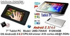 7pul tabletas pc mid android2.3/ android4.0 boxchip a10 1.5Ghz 512m 4g wifi hdmi