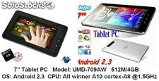 7pul tabletas pc mid umd android2.3 /4.0 allwinner a10 1.5GHz 512m/4gb hdmi wifi