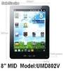 8pul tablets pc mid android2.2 wm8650 800Mhz 256m 4g wifi camara resistiva