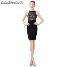A-line, Princess round collar Knee-length Sleeveless blackless Homecoming,