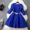 A-line Princess Round collar up-Knee-length Middle sleeve lace