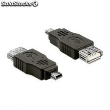 Adaptador delock mini USB macho a USB 2.0 hembra otg negro