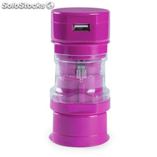 Adaptador enchufes fucsia tribox