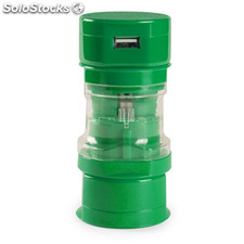 Adaptador enchufes verde tribox