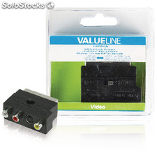 Adaptador Scart Av Intercambiable Scart Macho - 3 Rca Hembra + S-video Hembra En