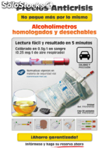 Alcoholimetro desechable Expositor Norma nf x 20-702