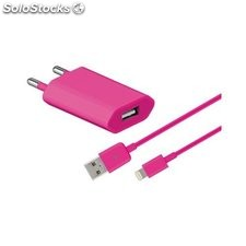 alimentatore da rete 2 in 1 usb spina apple 1 A 1 mt rosa 43789