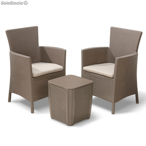 Allibert Set de muebles de jardín Iowa 3 piezas color capuchino 224383