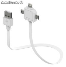 Allocacoc Power USB cable multiple, mini-micro-USB y Lightning