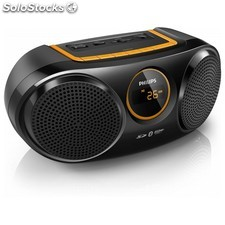 Altavoz Bluetooth Inalámbrico Philips AT10/00 2 USB 3W LED MP3 Negro Naranja