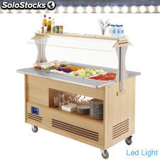 Aparrilla-salad bar refregadero 4x1/1-150 madera roble