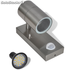 Aplique de pared con sensor y LED, acero inoxidable, plateado