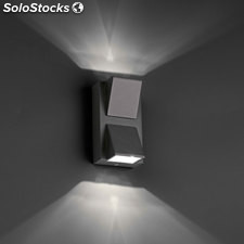 Aplique de pared cuadrado exterior gris oscuro Kamal LED HIGH POWER 2W 3000K