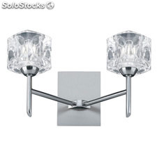 Aplique de pared plata satinado Ice Cube 2 x G9 66W 3000K