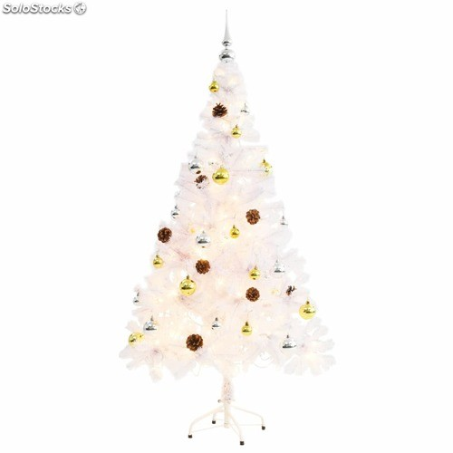 685595fd954 Árbol Navidad artificial decorado bolas luces LED 150 cm blanco