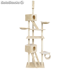 Arbre à chat Grattoir 230-260 cm 2 Niches Beige