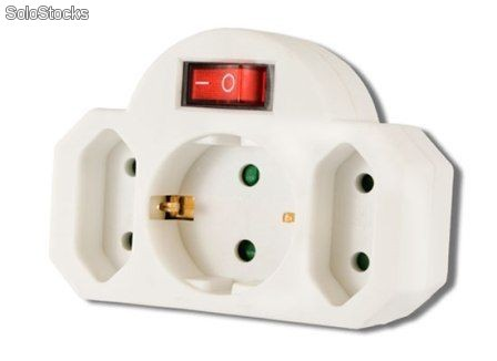 Arcas adaptador enchufe triple de pared con - Enchufes con interruptor ...