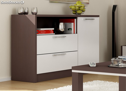 Armario aparador buffet color wengue y blanco de salon for Mueble buffet moderno