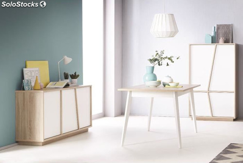 Armario mueble aparador color roble y blanco de sal n for Mueble salon blanco y roble