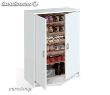 Armario mueble auxiliar multiusos zapatero blanco brillo de estantes reguables