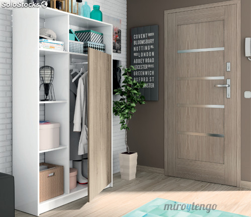 Armario recibidor color blanco con puerta cambrian y 5 for Mueble perchero entrada