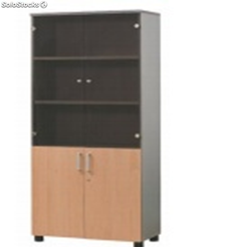 armoire haute portes battantes en verre et en bois w800xd400xh1890. Black Bedroom Furniture Sets. Home Design Ideas