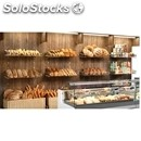 Back shelving supermarket for bread-mod. bread-all with wood finish wood fiber
