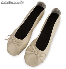 Bailarinas plegables y enrollables ( manoletinas ) colores beige y plata