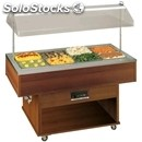 Bain marie gastronomy island buffet display - mod. deliziebm - manual hood lift