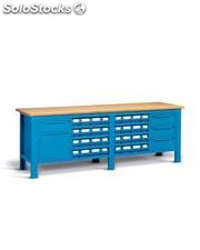 Banco serie work steel chiuso montato con piano in legno con multibox con 4